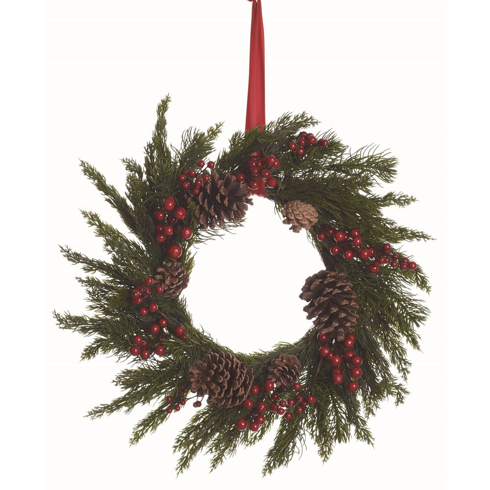 Artificial 24 in. Brown Christmas Faux Pine with Red Berry Wreath