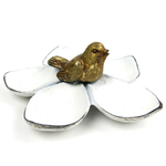 White Pewter Flower with Gold Bird Jewelry Dish