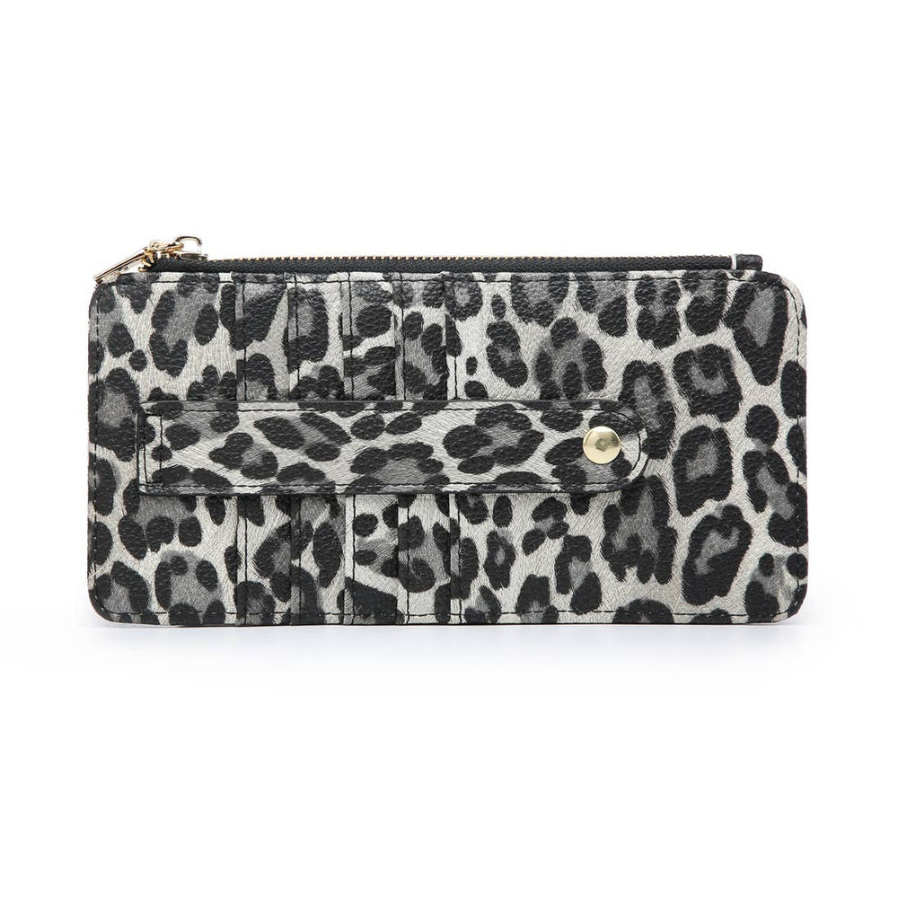 Cheetah Grey Slim Card Holder Wallet