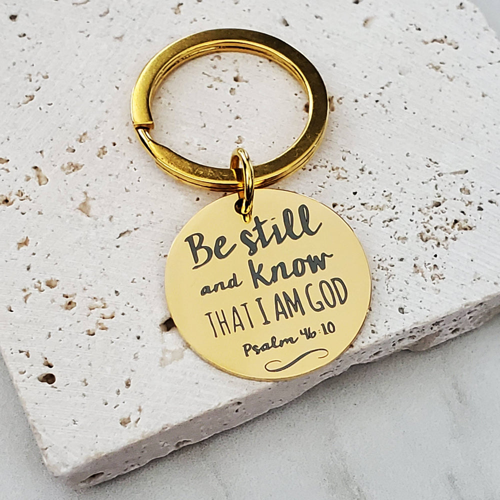 Be Still and Know Mantra Religious Key Chain Fob