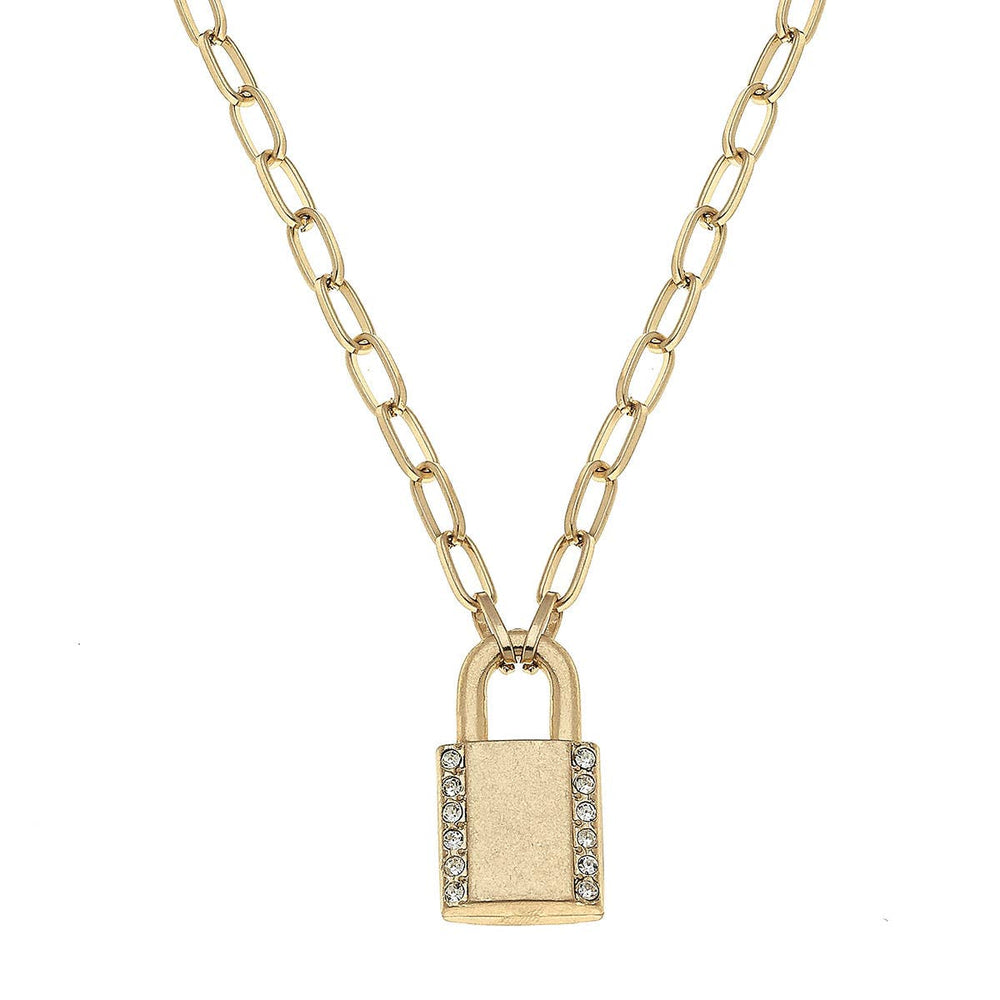 Eliana Padlock Paperclip Chain Necklace in Worn Gold