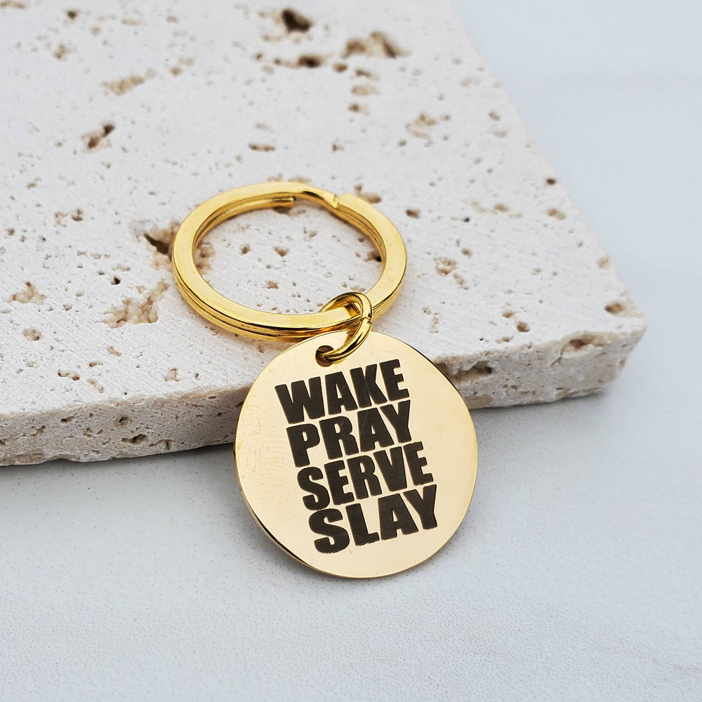 Expressions Bracelets - Wake Pray Serve Slay Religious Gold Key Fob