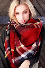 Classic Red Plaid Blanket Scarf