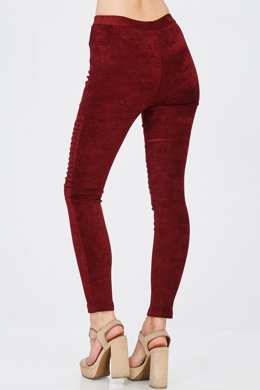 Faux Suede Moto Jeggings Burgundy