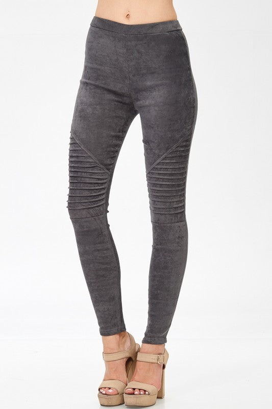 Faux Suede Moto Jeggings Grey