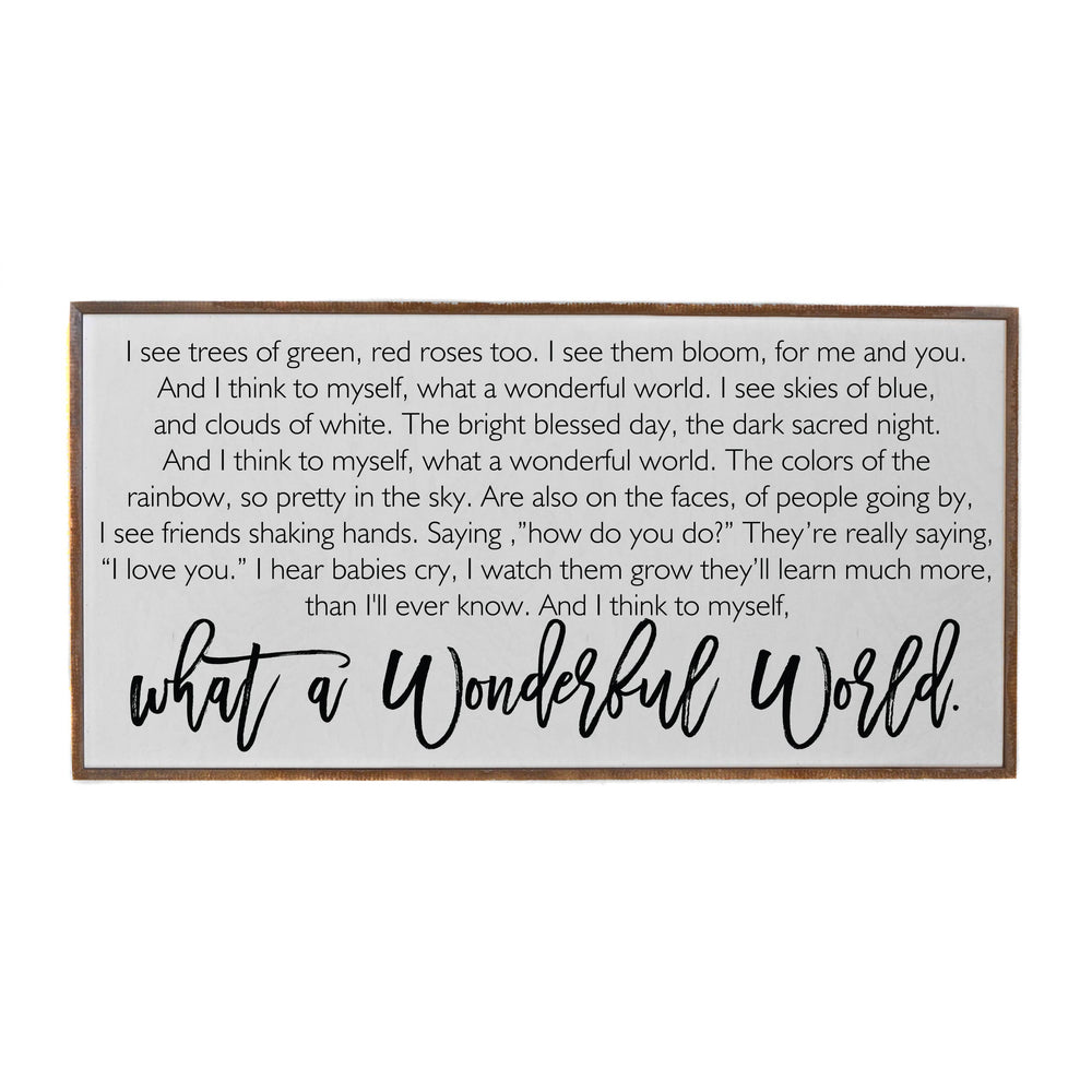 36X18 What A Wonderful World Horizontal Wood Sign