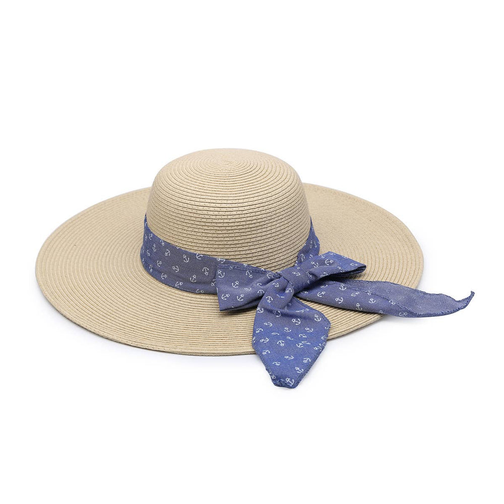 HAT1964 Natural Seagrass Hat w/ Blue Ribbon