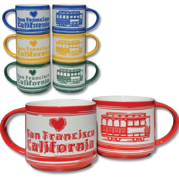 Etched Cable Car Mug, red