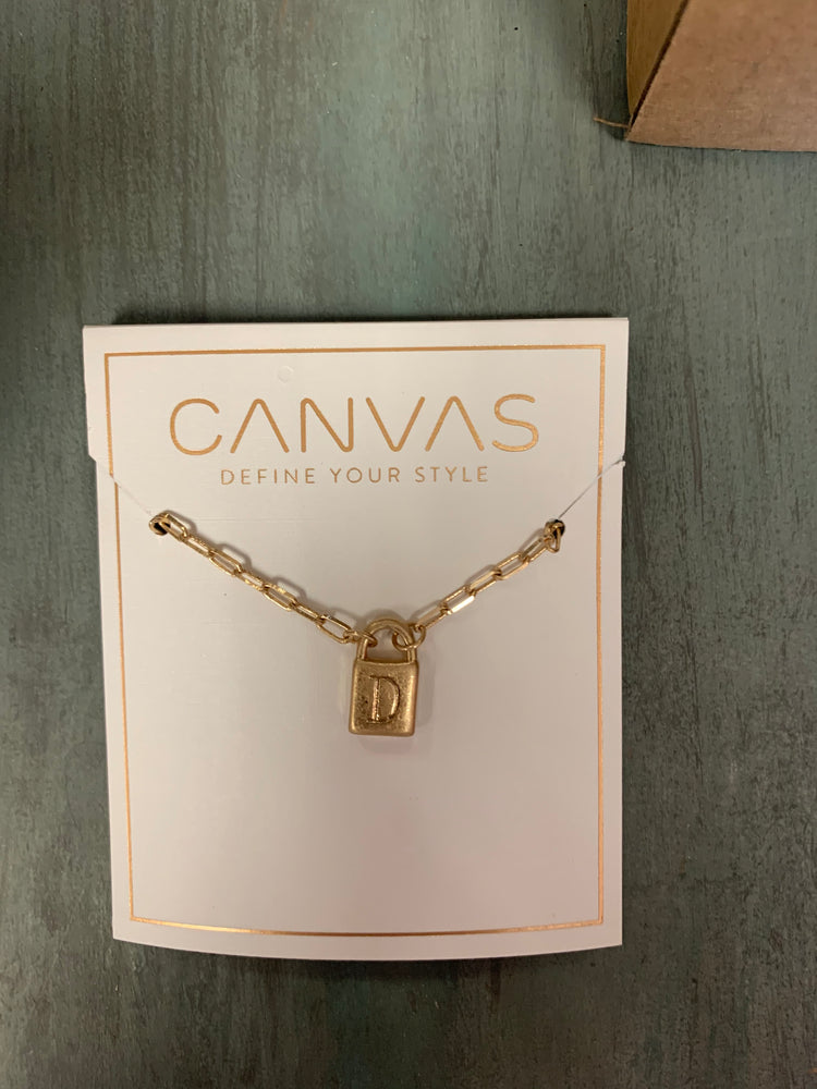 Initial Padlock Necklace-Gold