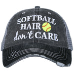 Softball Hair Don't Care Trucker Hat - preorder