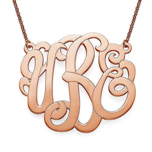 "1.5"" Script Monogram Necklace in Rose Gold"