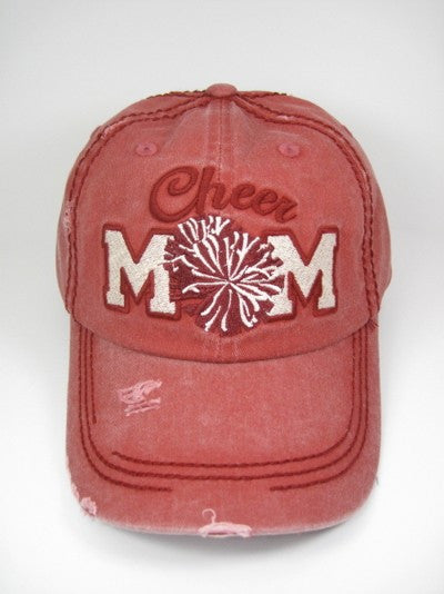 Cheer Mom Ball Hat Red -Preorder