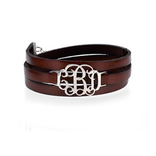 Leather Wrap Bracelet with Sterling Silver Monogram