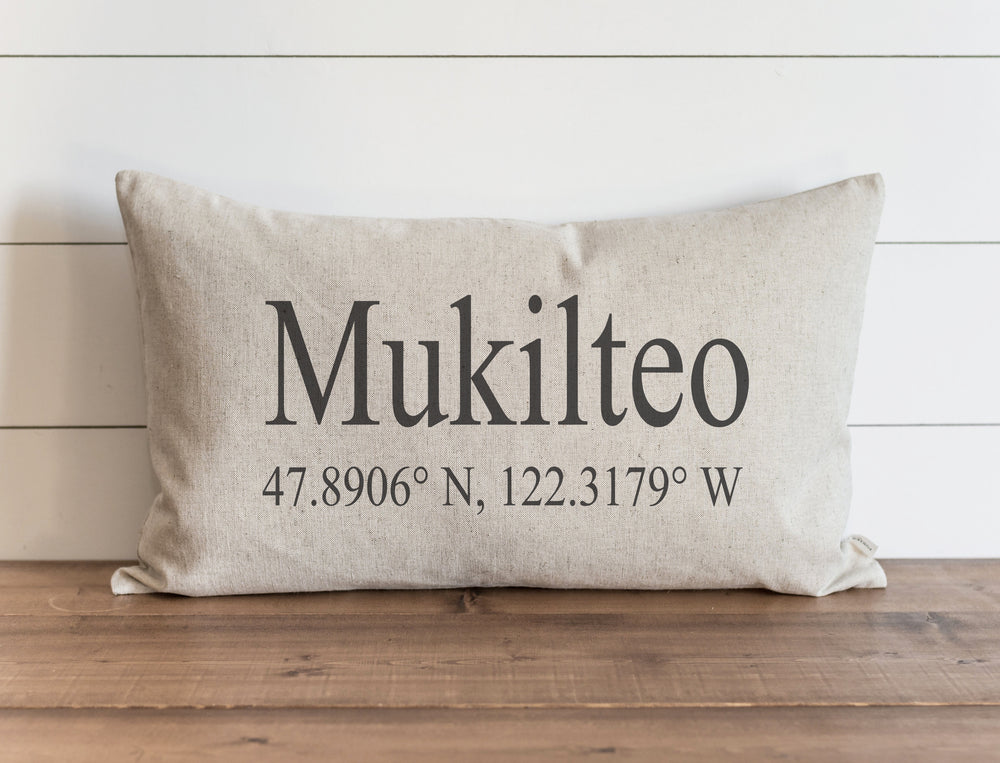 Custom Location & Coordinates Pillow Cover