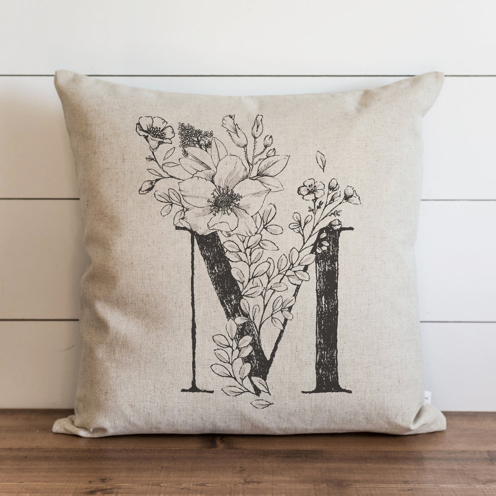 Custom Floral Monogram Pillow