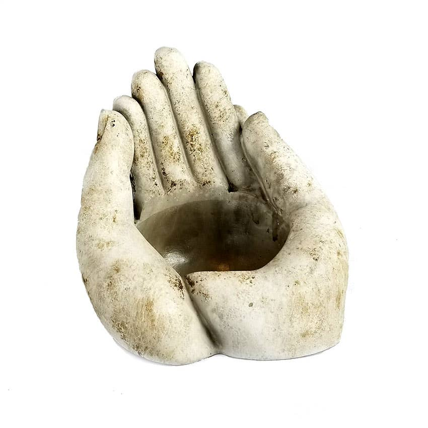 Cement Hands for Candle or Plant