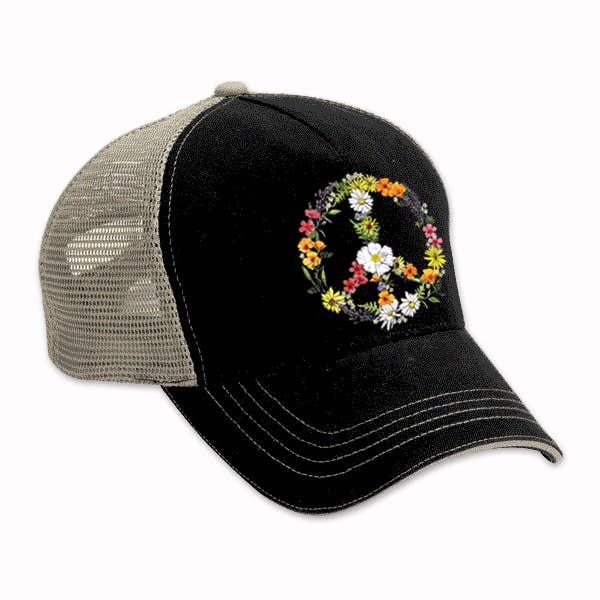 Floral Peace Sign Black Trucker Hat