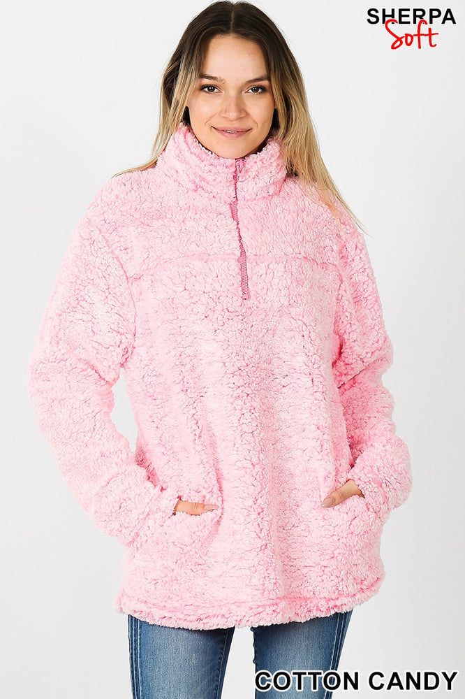 Sherpa Half Zip Cotton Candy