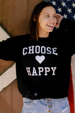 Choose Happy Sweatshirt-Black