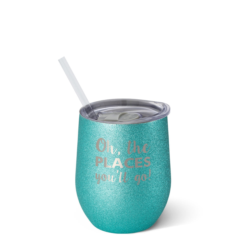 SWIG - Oh, The Places 12oz Glitter Stemless Wine Cup