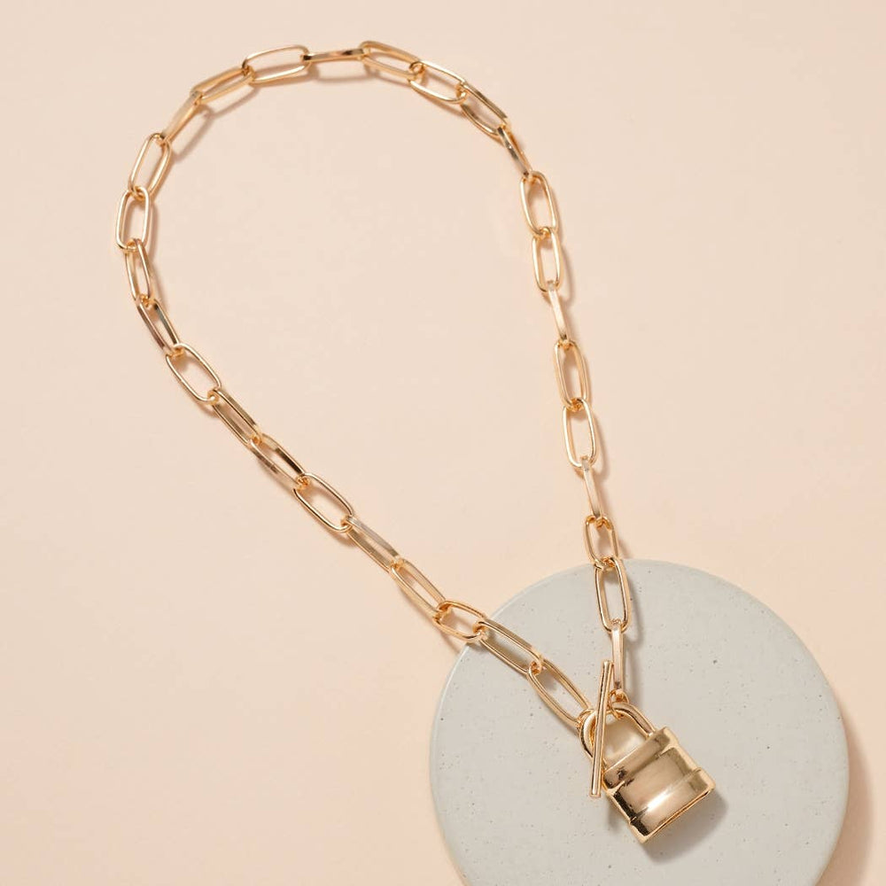 Lock Charm Toggle Closure Necklace