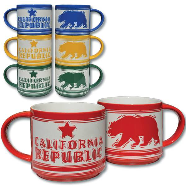 Etched California Republic Bear Mug-RED