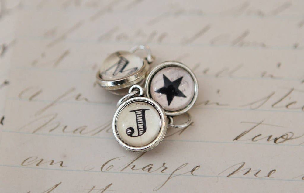 Tiny Cream Two Sided Round Initial Charm