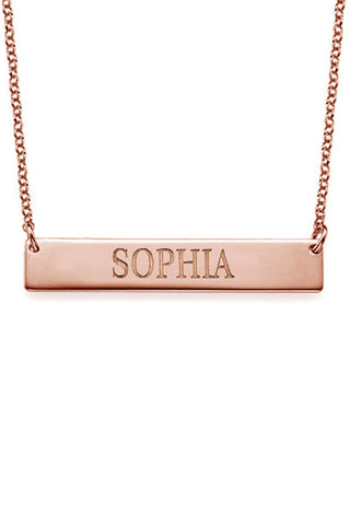 Rose Gold ID Bar Necklace