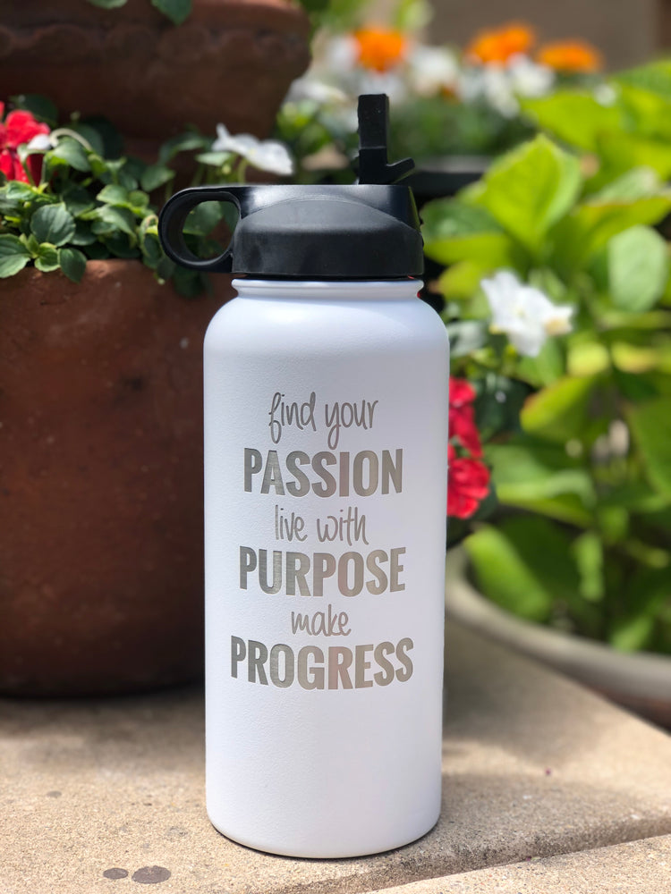 Find Your Passion Engraved Water Bottle