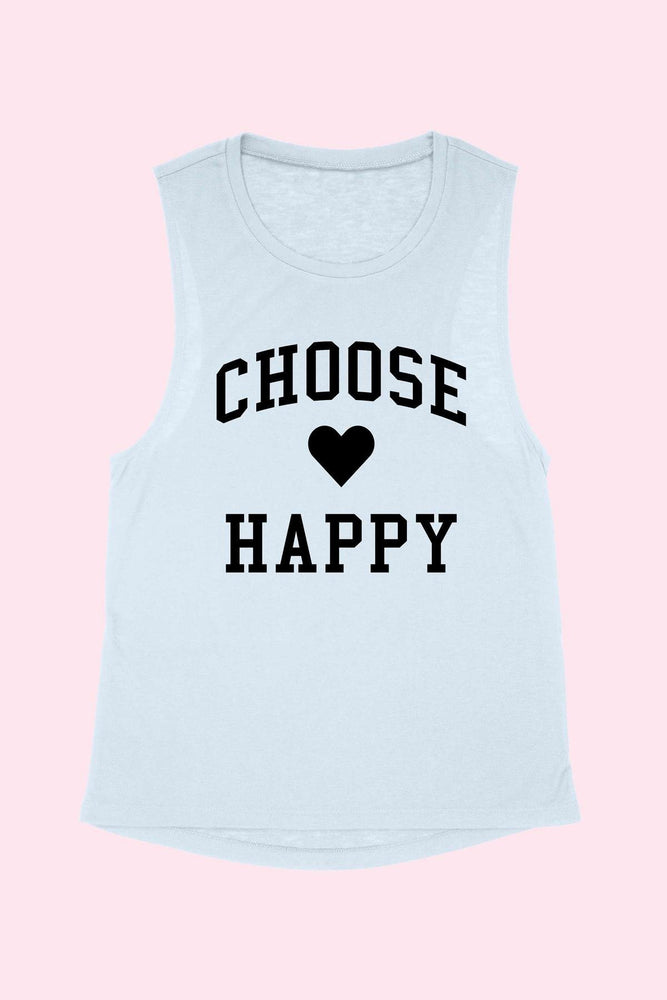 Choose Happy Tank-Blue