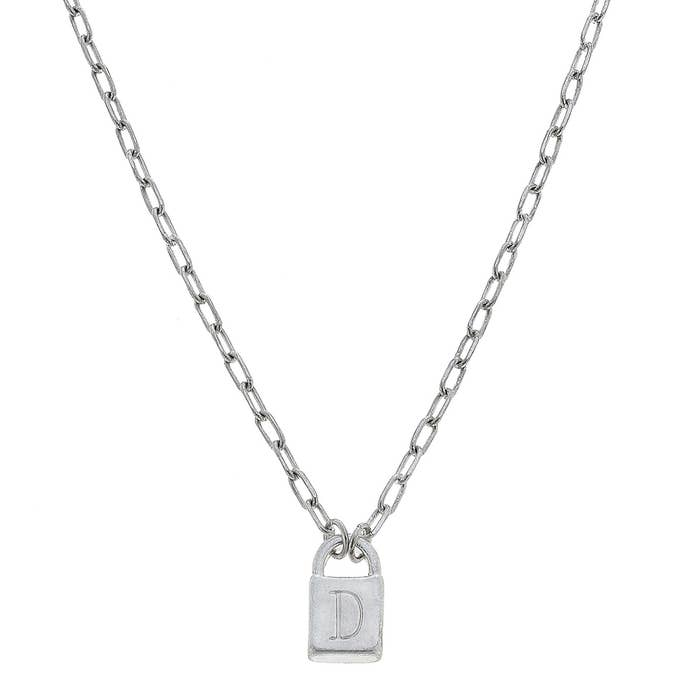 Initial Padlock Necklace-Silver