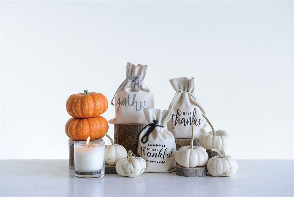 Clear Glass Candle THANKFUL Cotton Bag
