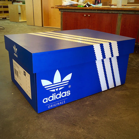 Giant Adidas Inspired Shoe Storage Box Wood
