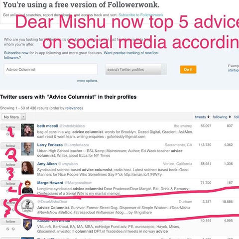 DearMishu now ranks as the # 5 advice columnist on Twitter