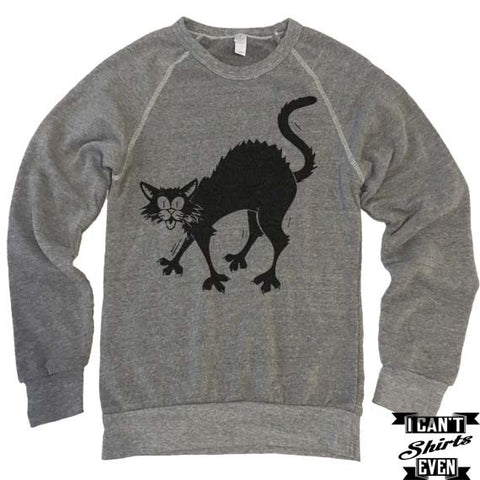 Halloween Sweatshirt Black Cat. Eco-Fleece Unisex Shirt.