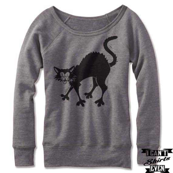 "Off The Shoulder ""Black Cat"" Halloween Wide Neck Halloween Sweatshirt Costume."