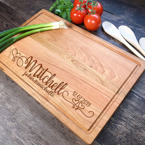 Custom Cutting Board. Personalized Wood Cutting Board. Bridal Shower Gift. Engagement Gift. Engraved Board. #2