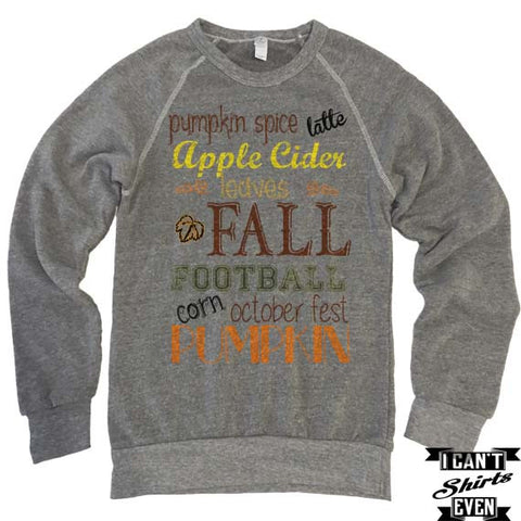 Pumpkin Spice. Fall. Football. Apple. Sweatshirt. Fall Shirt. Eco-Fleece Sweatshirt.Unisex Autumn