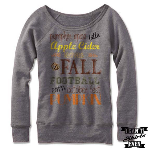 Fall Typography Art Off The Shoulder Sweatshirt. Pumpkin. Football. October Fest. Latte.