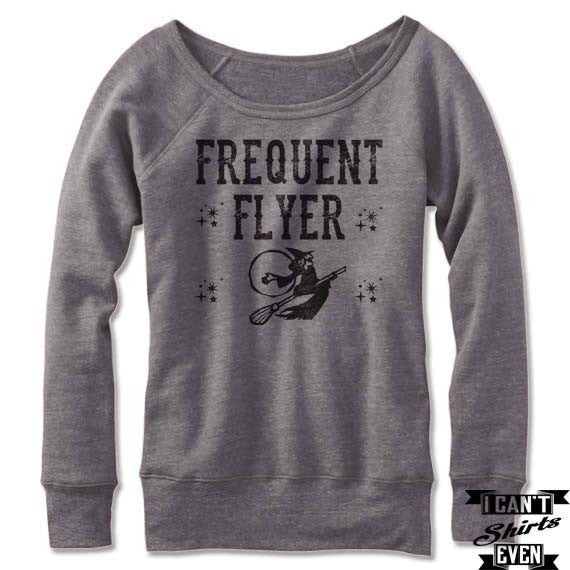 Witch Frequent Flyer Off The Shoulder Halloween Sweatshirt Costume. Wide Neck