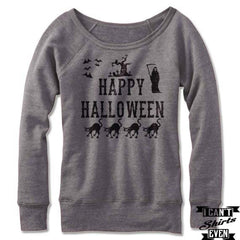 Happy Halloween Off The Shoulder Halloween Sweatshirt Costume. Wide Neck
