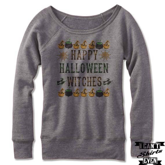happy halloween witches off the shoulder halloween sweatshirt wide neck