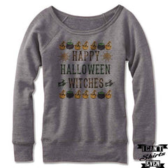 Happy Halloween Witches Off The Shoulder Halloween Sweatshirt. Wide Neck.