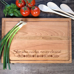 She Who Cooks Never Cleans Cutting Board. Funny Cutting Board. Mother's Day Gift. Personalized Cutting Board. Housewarming Gift. #33