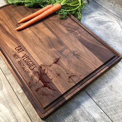 Eat Veggies Not Animals. Cutting Board. Vegetarian. Vegan Gift. Vegan AF. Cutting Boards. Cutting Board Handmade. Wood. Pig. #45
