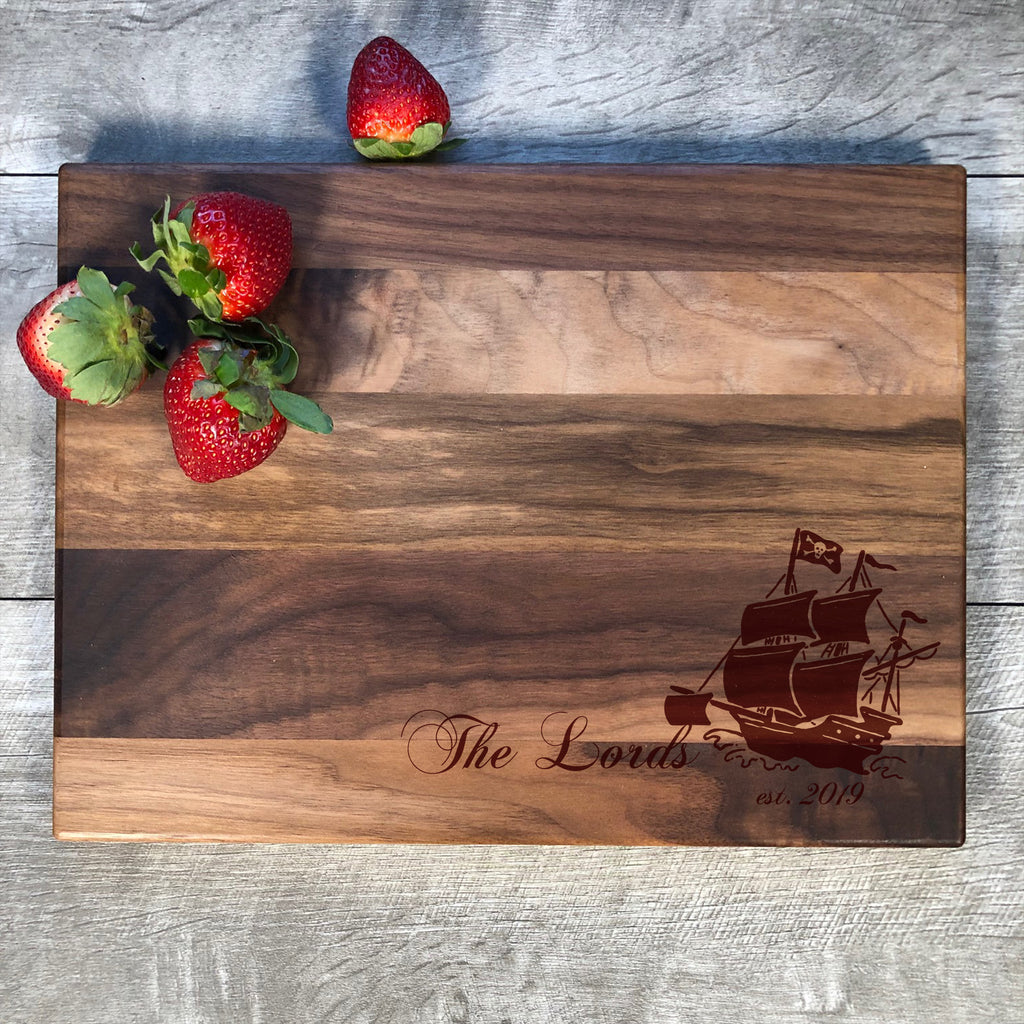 Personalized Cutting Board. Pirate Ship. Nautical Decor. Engraved Board. Wedding Gift. Custom Cutting Board. Gift For Couple. #44
