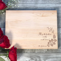 This Kitchen Cooks With Love Cutting Board. Personalized Cutting Board. #25