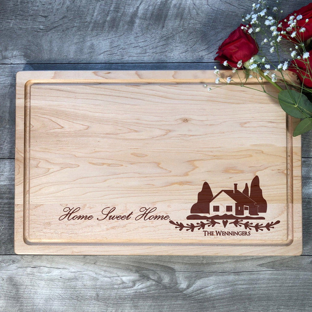 Anniversary gift Bamboo Board Personalized Cutting Board Family Sign Closing gift Wedding Gift Home Sweet Home Valentines Gift