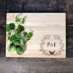 Custom Initials Cutting Board. Personalized Wood Cutting Board. Monogrammed Bridal Shower Gift. Engagement Gift. Engraved Board #5