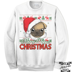 Merry Puggin Christmas Sweatshirt. Ugly Sweater. Pug Sweater. Unisex Fleece Shirt.Christmas Sweater.